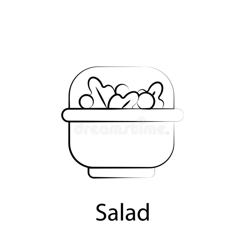 Fast food salad outline icon. Element of food illustration icon. Signs and symbols can be used for web, logo, mobile app, UI, UX royalty free illustration
