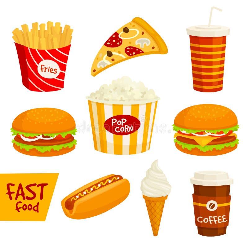 Fast food sandwich, drink, snack icon set royalty free illustration