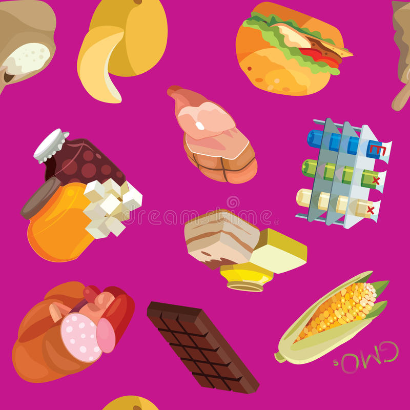 Fast food, sausages, heavy foods, fast carbohydrates, smoked foo. Fast food, sausages, heavy foods, fast carbohydrates, smoked products, GMOs, semolina stock illustration