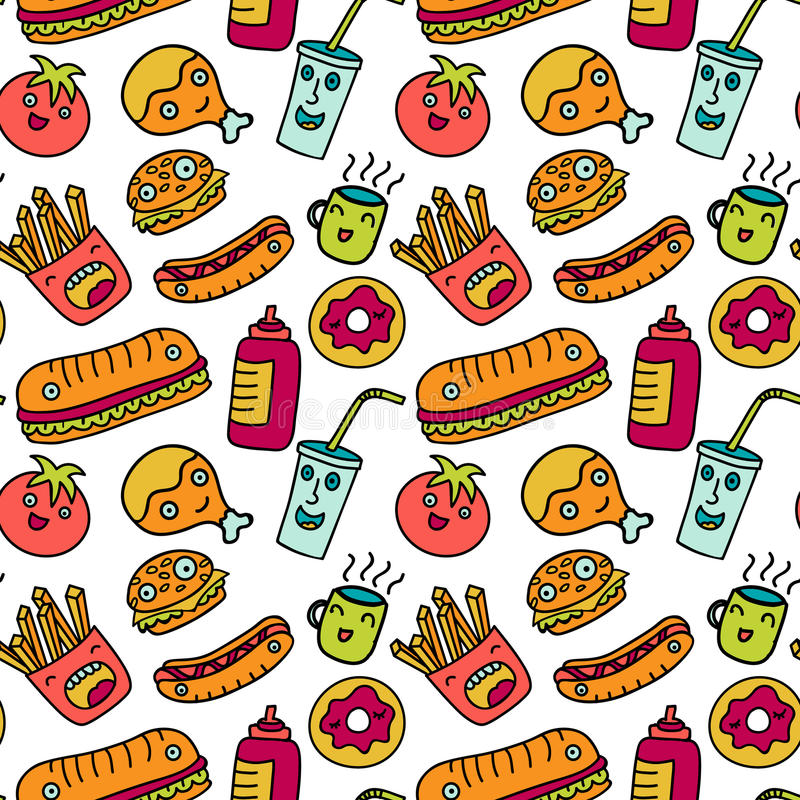 Fast food seamless background. Funny cartoon. Pattern with a soda, cheeseburger, french fries, hotdog and chicken wing stock illustration