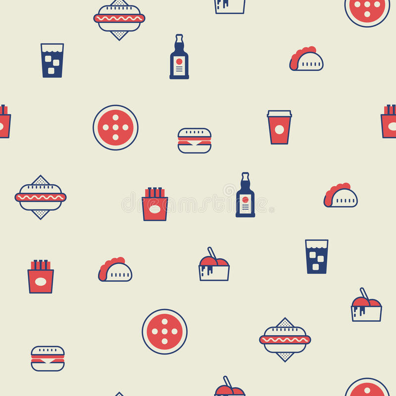 Fast food seamless background stock illustration