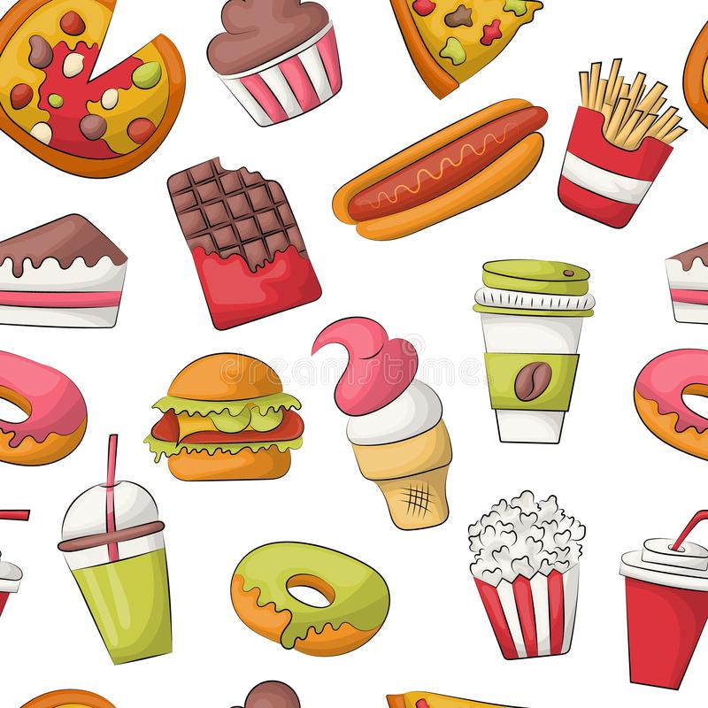 Fast food seamless pattern background. Restaurant menu decoration. Repeat backdrop for cover, wrapping paper, textile. Vector illustration vector illustration