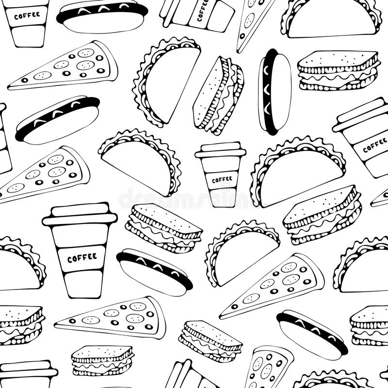 Fast food seamless pattern royalty free illustration