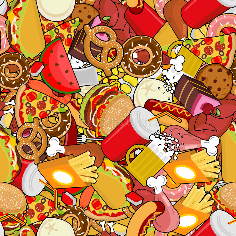 Fast Food seamless pattern. Feed ornament. meat background. Pizza and taco. French fries and hamburger. Hotdog and cookies. Baked stock illustration