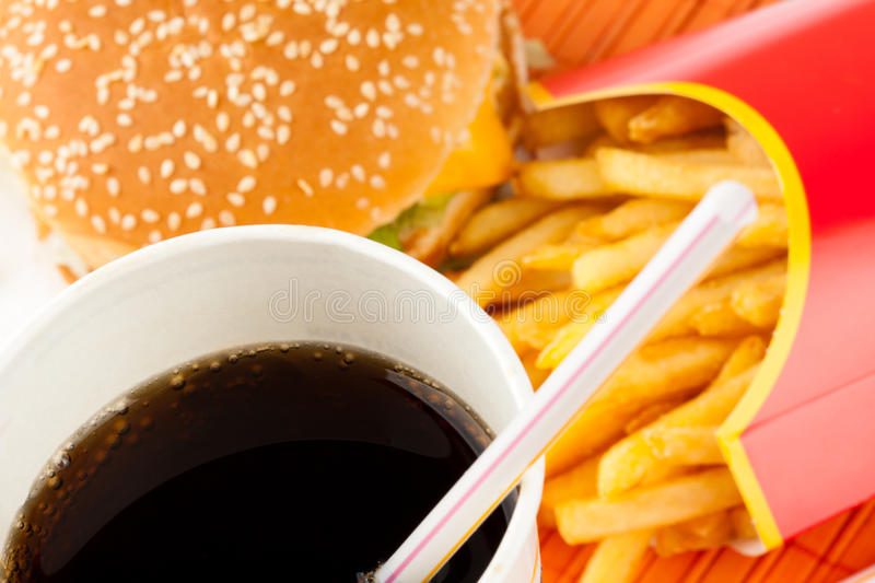 Fast food set. Of fried potatoes, burger and cola stock photo