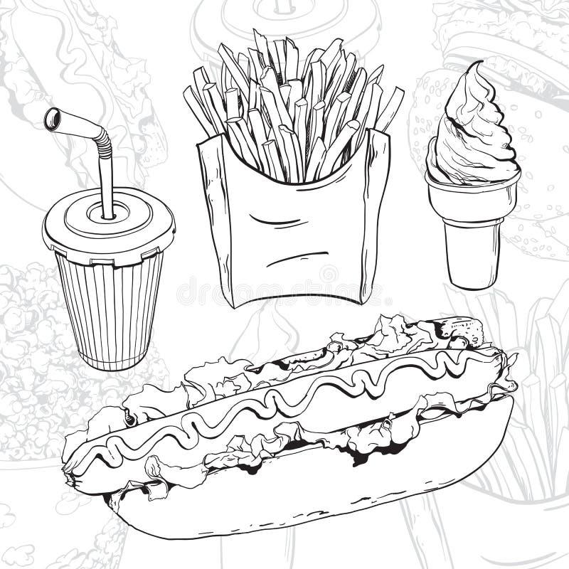 Download Fast food set stock vector. Image of calorie, food, chopsticks - 25582226