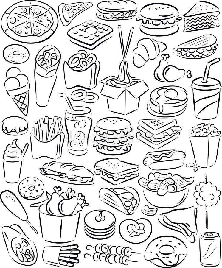 Free Fast Food Set Royalty Free Stock Photos - 35121528