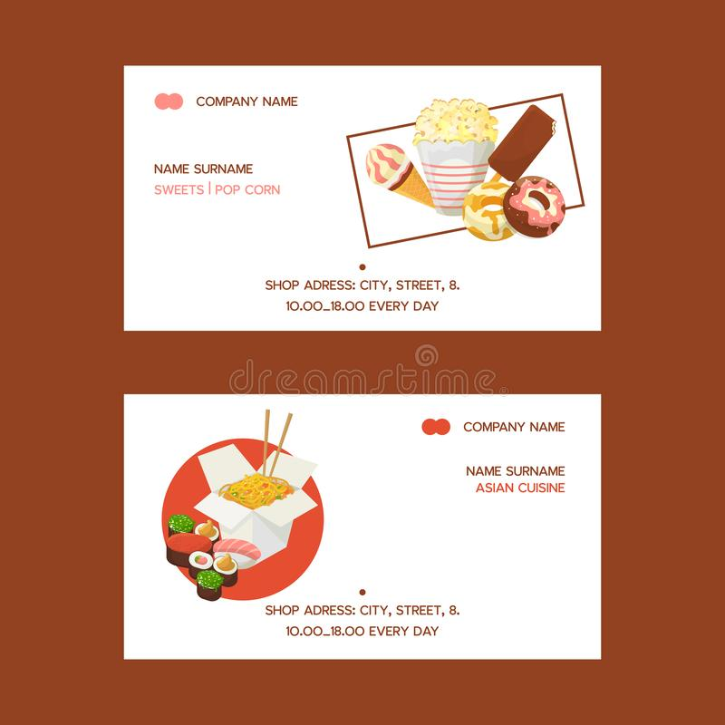 Fast food set of business cards vector illustration. Eating out. Quick way to have meal. Sweets such as donuts, popcorn vector illustration