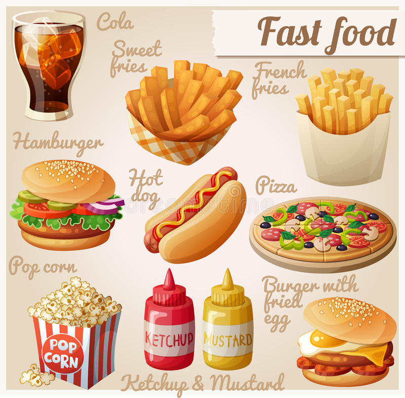 Fast food. Set of cartoon vector food icons vector illustration