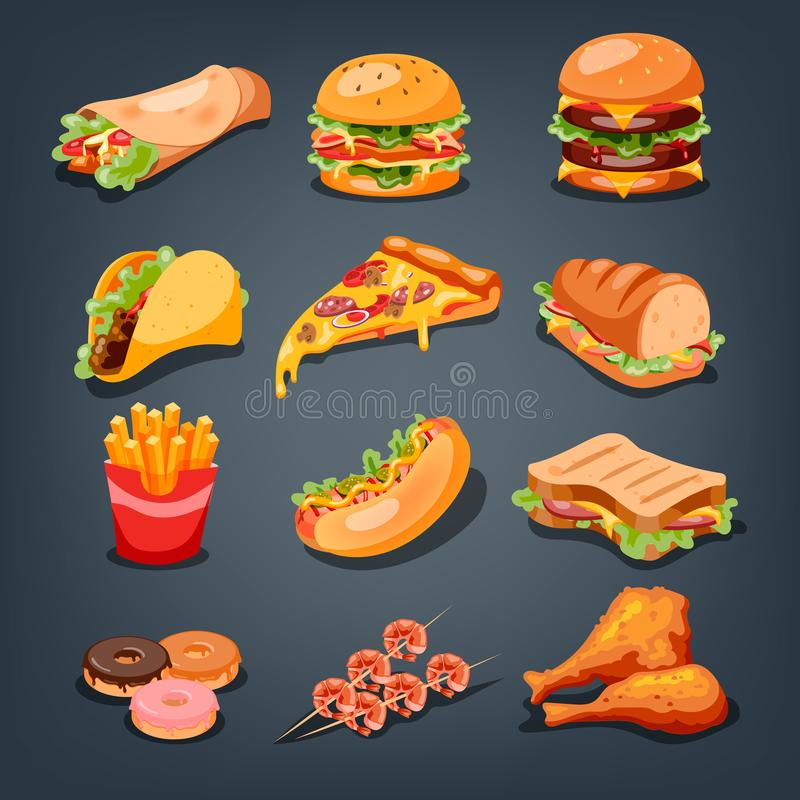 Fast food set. Collection of tasty snack. Pizza and burger vector illustration