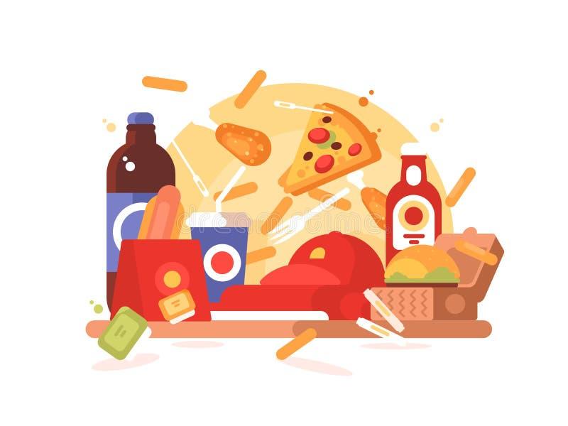 Fast food set. Hamburger and hot dog, soda and french fries. Vector illustration royalty free illustration