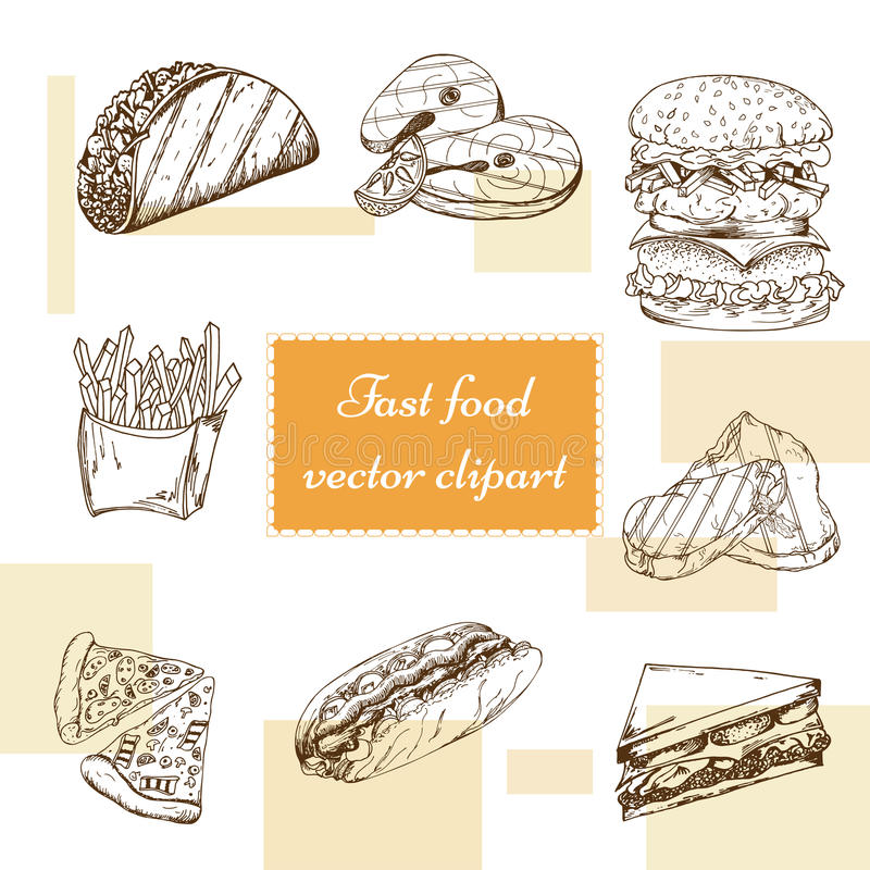 Fast food set. Hand draw illustration. Vintage burger design. Colorful american food elements vector illustration