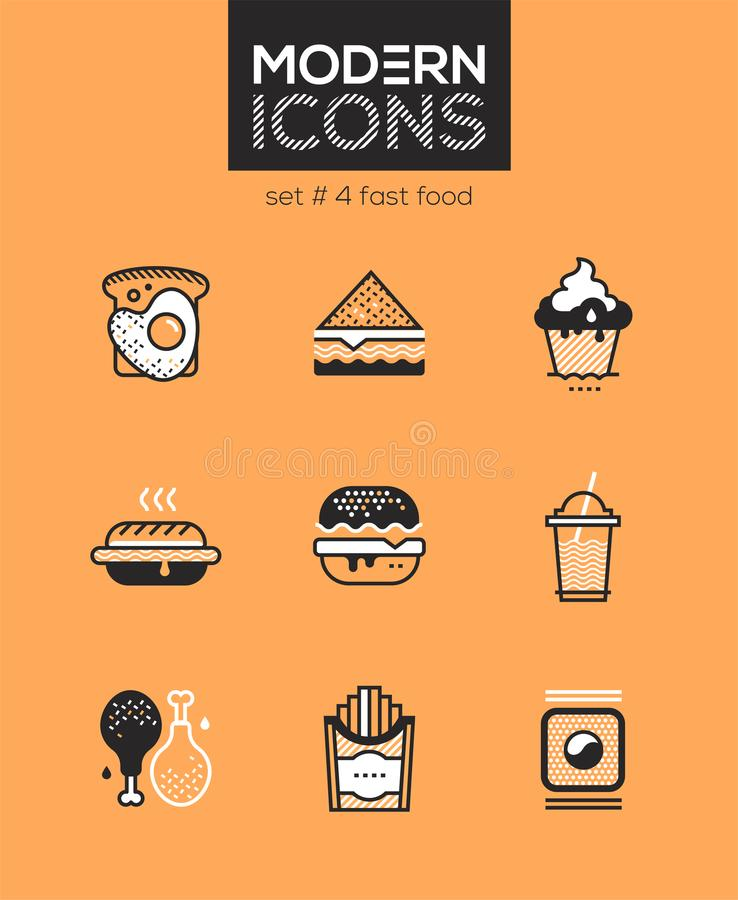 Fast food - set of line design style icons royalty free illustration