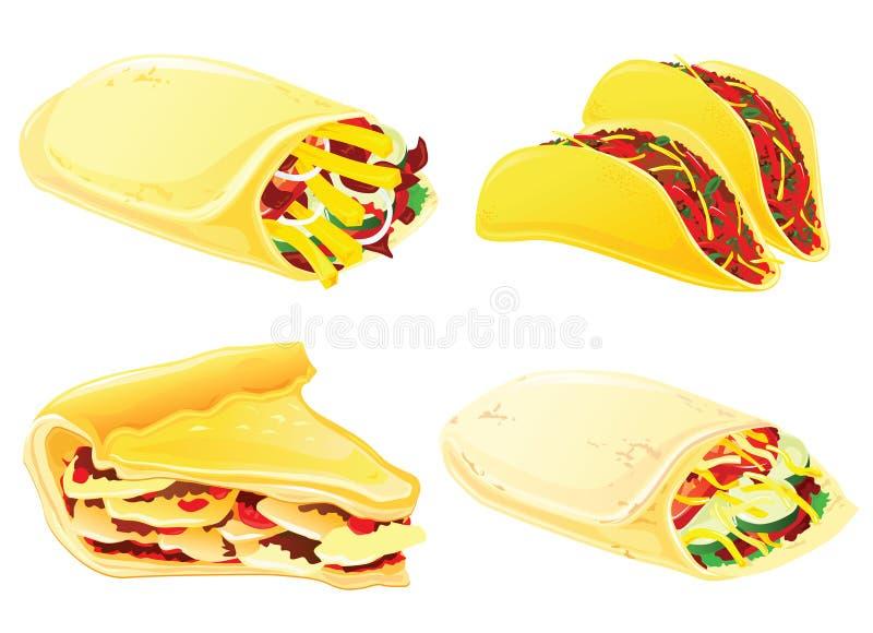 Fast food set. Taco, burrito, pie and kebab vector illustration