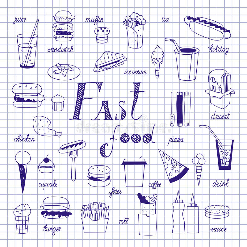 Fast food sketch. On notebook sheet. Big vector set. Burgers, sandwiches, hotdogs and drinks hand-drawn stock illustration