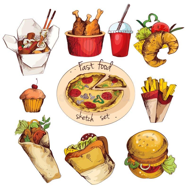 Fast food sketch set stock illustration