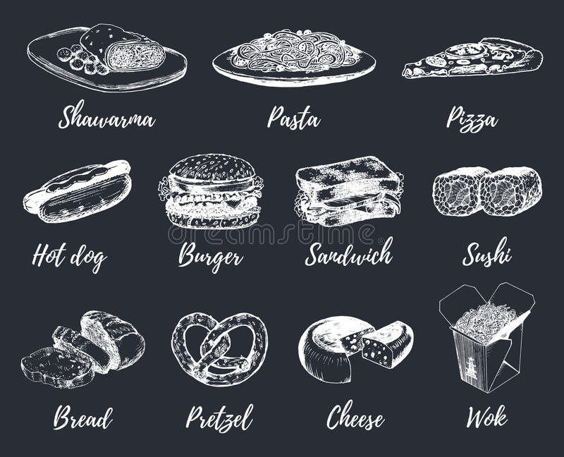 Fast food sketches vector set. Hand drawn international cuisine icons for snack bar menu, street cafe chalkboard etc. Quick meal illustrations royalty free illustration