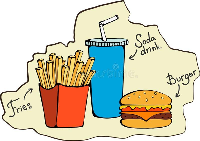 Fast food smaży, hamburger, sodowany napój - Wektorowa ilustracja ilustracja wektor