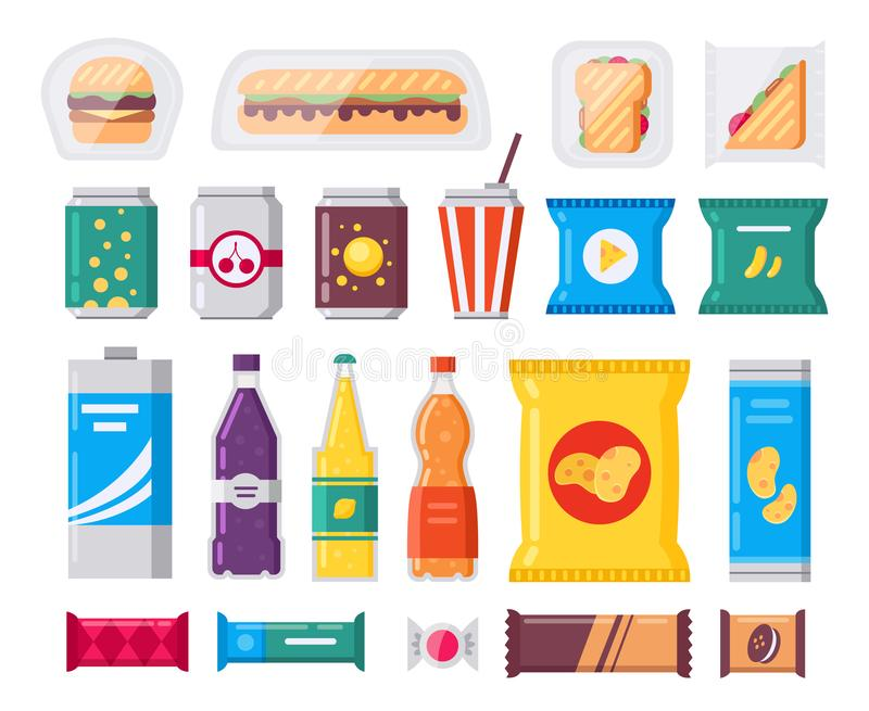 Fast food snack and drink pack, vector icons set in flat style. Vending products collection. Snacks, drinks, chips stock illustration