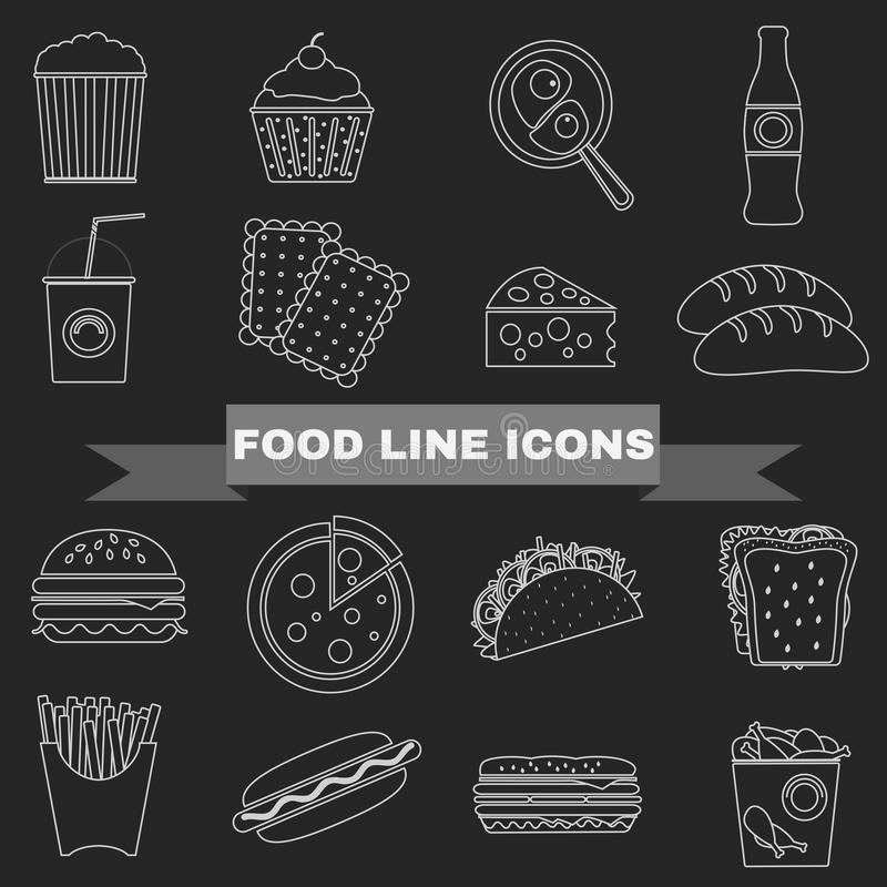 Fast Food and Snacks Big Icons Set royalty free illustration
