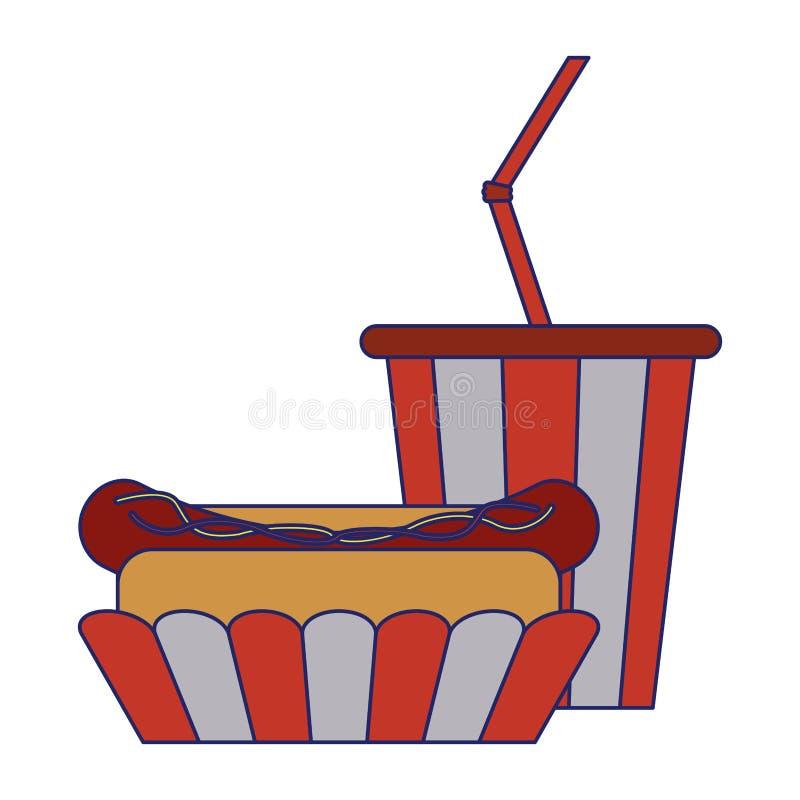 Fast food sody i hot dog niebieskie linie ilustracji
