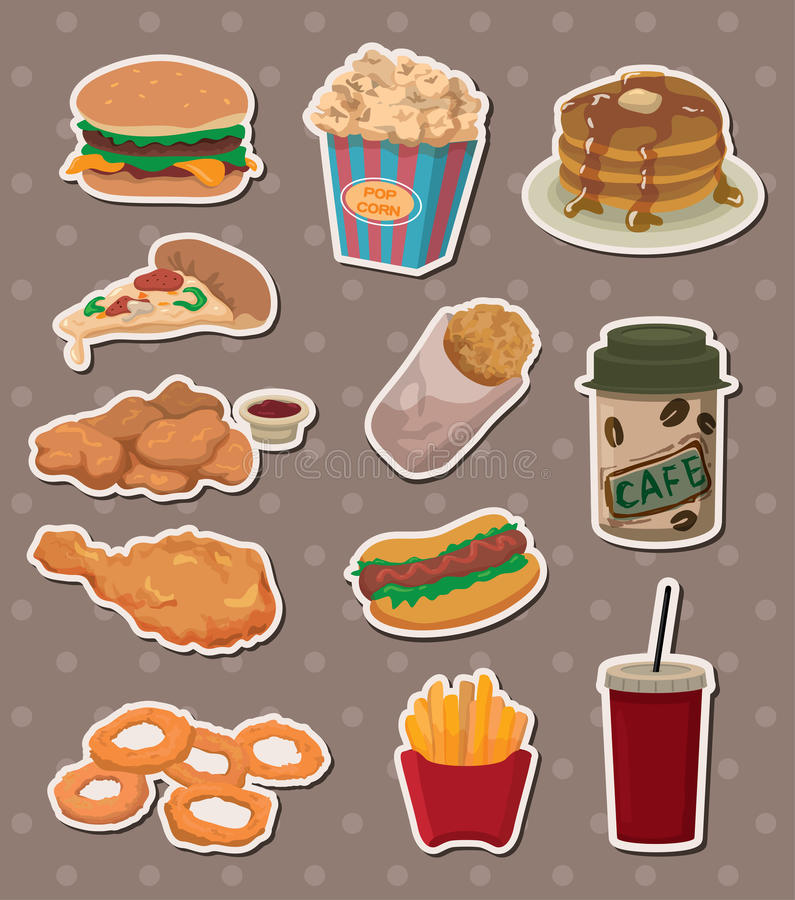 Download Fast food stickers stock vector. Image of french, meal - 24698943