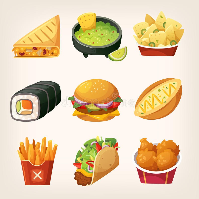 Fast food stickers. Set of colorful takeaway food to find at street food trucks and in chain fastfood cafes. Icons for menu logos and labels stock illustration