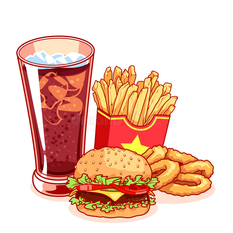 Fast food: szkło kola, francuscy dłoniaki, hamburger i cebulkowy pierścionek, ilustracja wektor