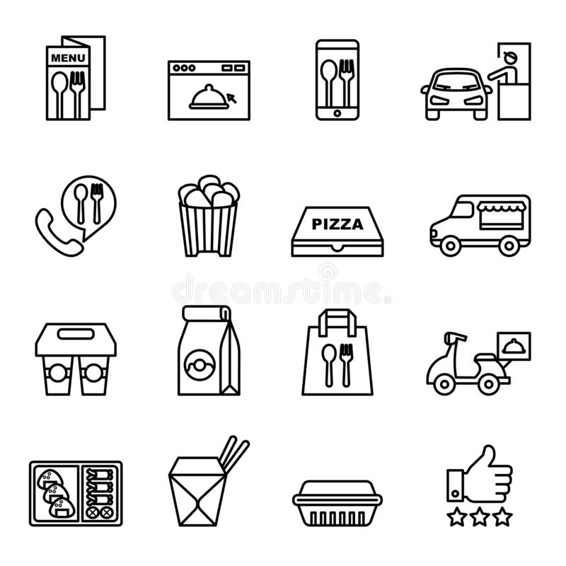Fast food, Take away, Package icons para entrega ilustração royalty free