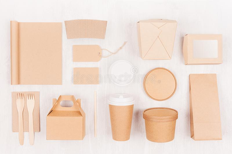 Fast food template for branding identity - blank kraft paper notebook, coffee cup, label, card, box for noodles, sushi, soup. royalty free stock photos