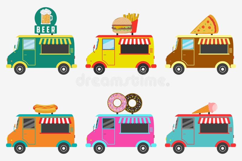 Fast Food trucks. Set of street shops on van - Beer, Donut, Burger and French fries, Hot Dog, Ice Cream, Pizza. Vector. stock illustration