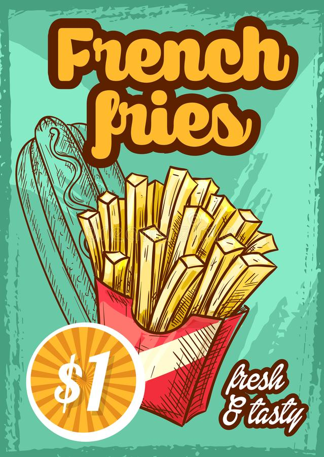 Fast food vector french fries menu sketch poster. Fast food french fries menu poster with price for cinema bar bistro or fastfood restaurant. Vector sketch stock illustration