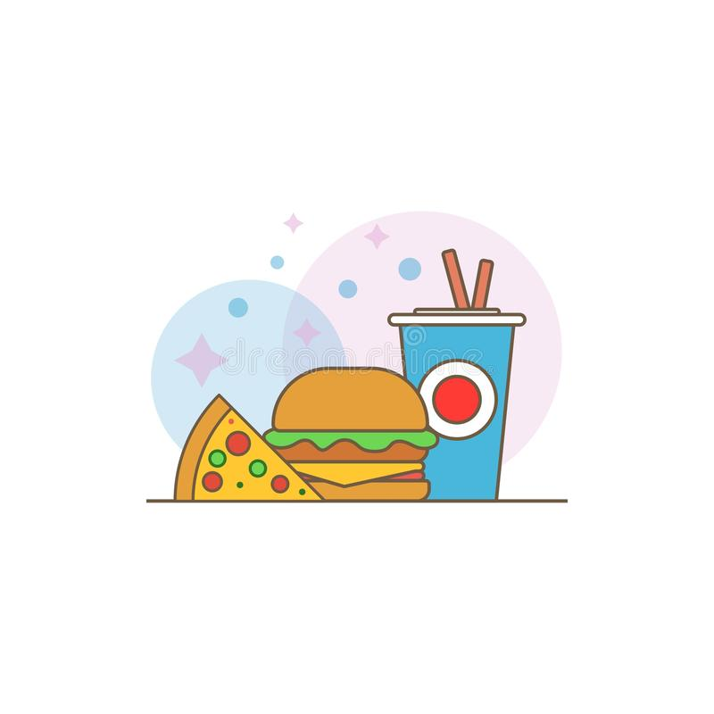 Fast food vector logo. Fast food hamburger dinner and restaurant, tasty set fast food many meal and unhealthy fast food. stock image