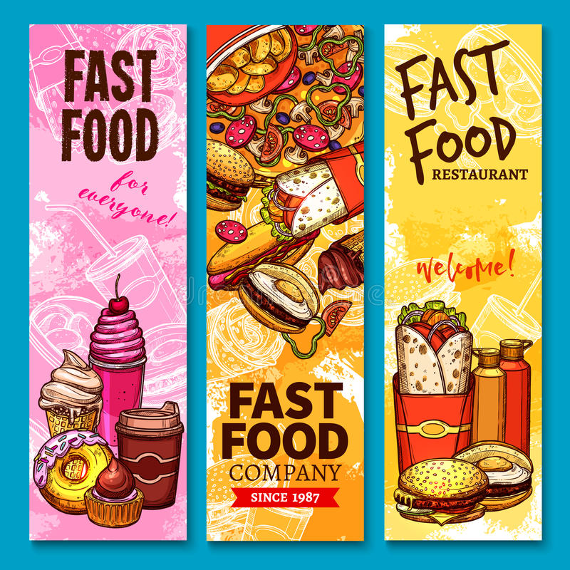 Fast food vector sketch welcome or menu banners. Fast food sketch welcome banners or menu. Vector burgers sandwiches, desserts and pizza. Fastfood french fries stock illustration
