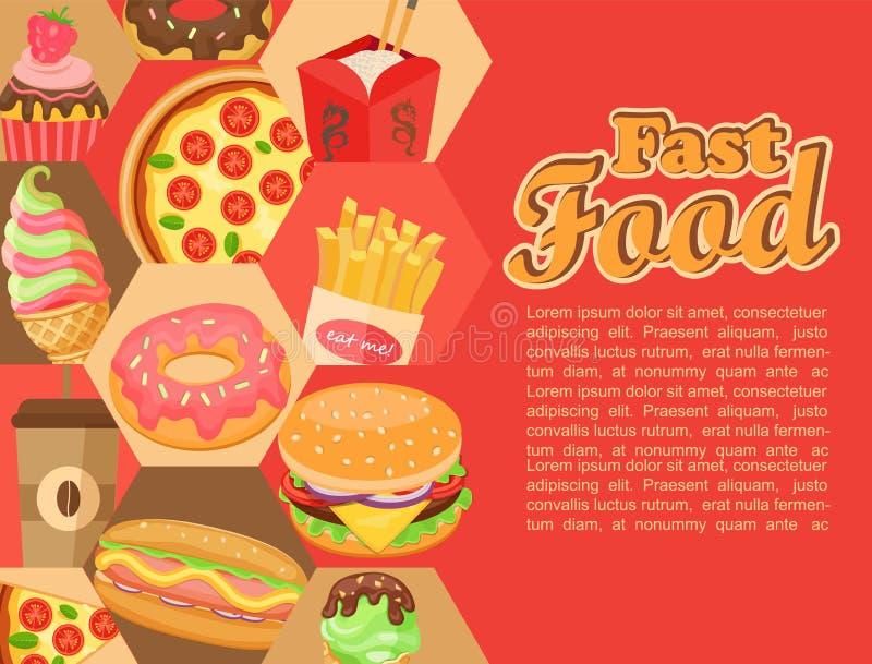 Fast food, vector. stock illustration