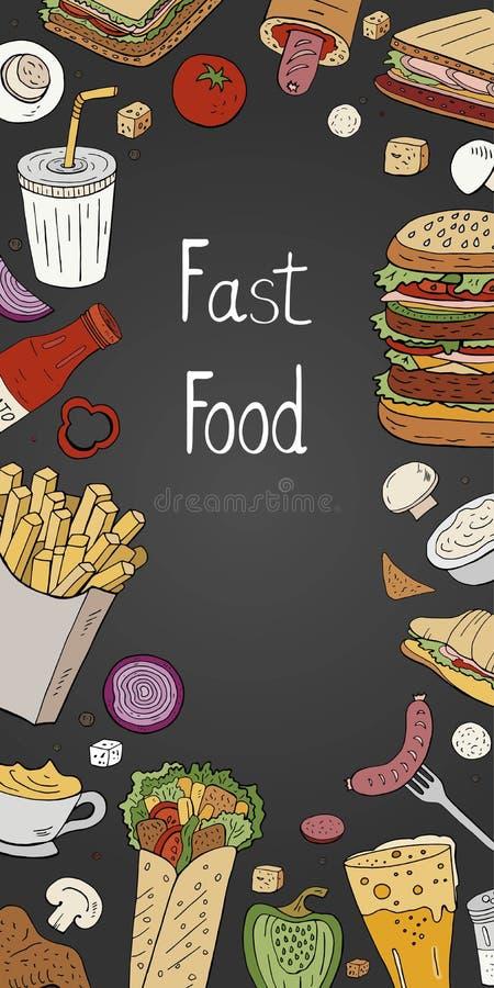 Fast food vertical do vintage no fundo preto Bandeira tirada mão do alimento da rua do vetor para o menu do café ilustração do vetor