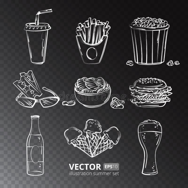 Fast food wektorowe ikony odizolowywać na przejrzystym tle ilustracji