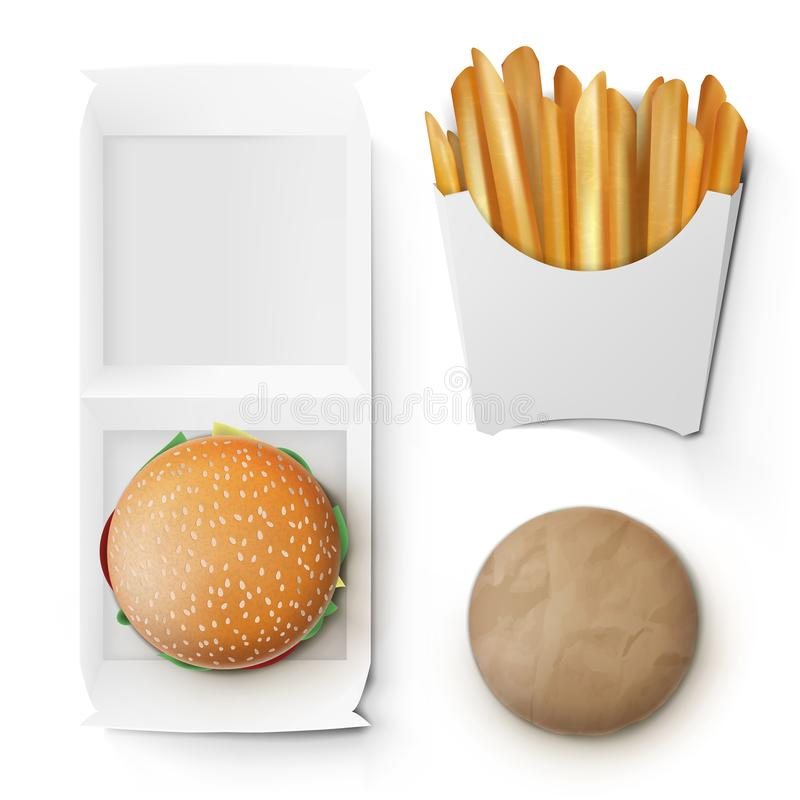 Fast Food White Paper Burger And French Fries Take Away Box Package vector illustration
