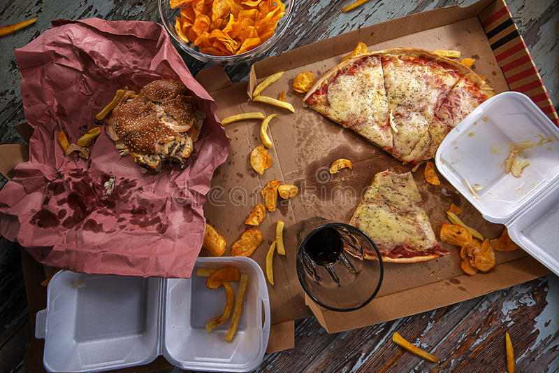Fast Food. Whole table full of fast Food royalty free stock photography