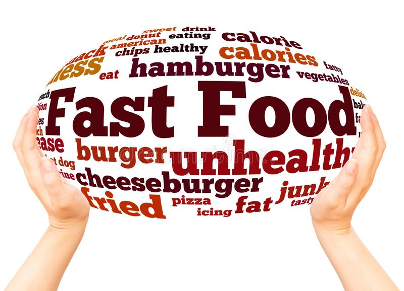 Fast Food word cloud hand sphere concept stock photography