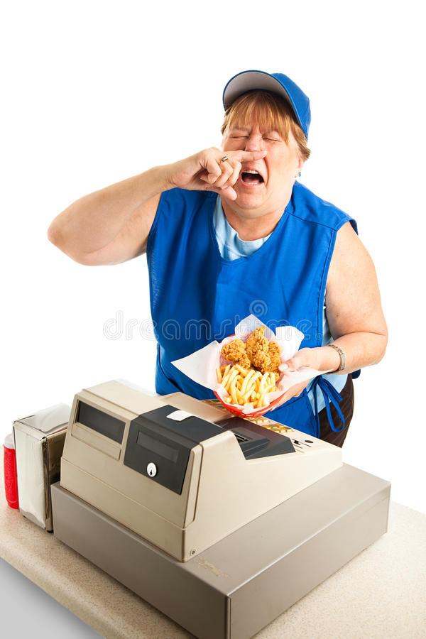 Fast Food Worker Sneezing on Meal. Unhygienic fast food worker sneezing on someone's meal. White background royalty free stock photos