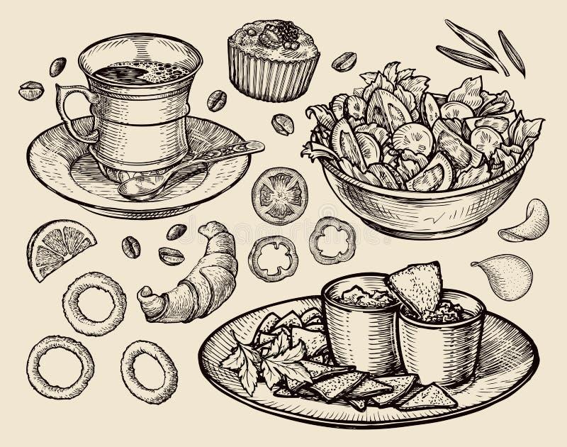 Fast food wręcza patroszoną filiżanki kawę, herbata, jarzynowa sałatka, nachos, słodka bułeczka, deser, croissant, cebulkowi pier ilustracja wektor