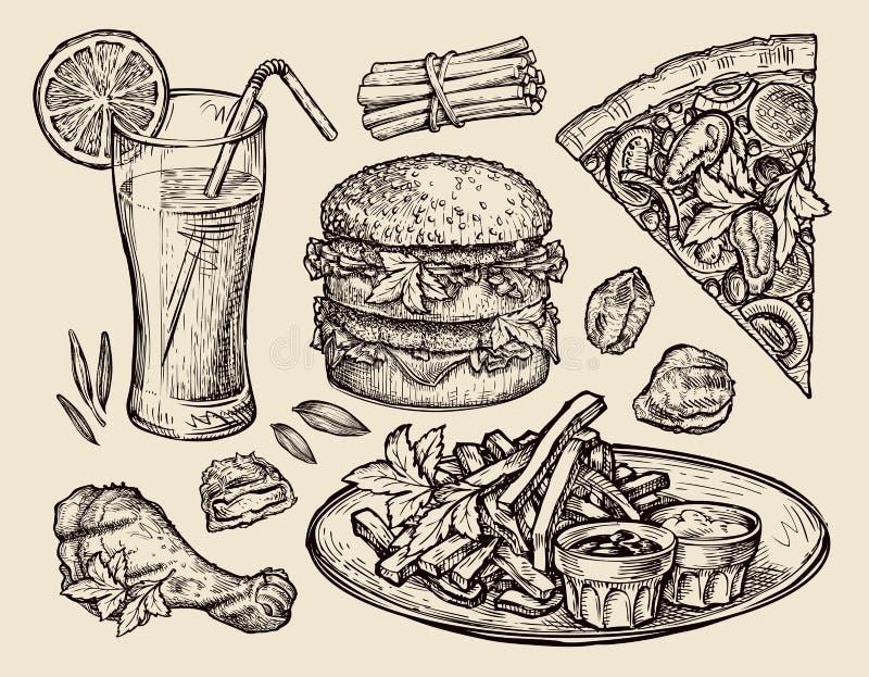 Fast food wręcza patroszoną pizzę, hamburger, dłoniaki, hamburger, piec na grillu kurczak, bryłki, świeży sok Nakreślenie wektoru royalty ilustracja