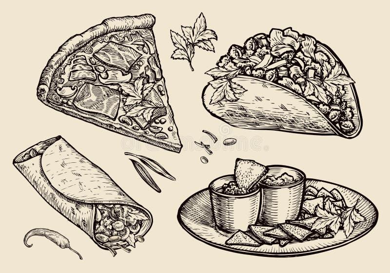 Fast food Wręcza patroszoną pizzę, kanapka, tacos, nachos, burrito, shawarma, pita chleb Nakreślenie wektoru ilustracja royalty ilustracja