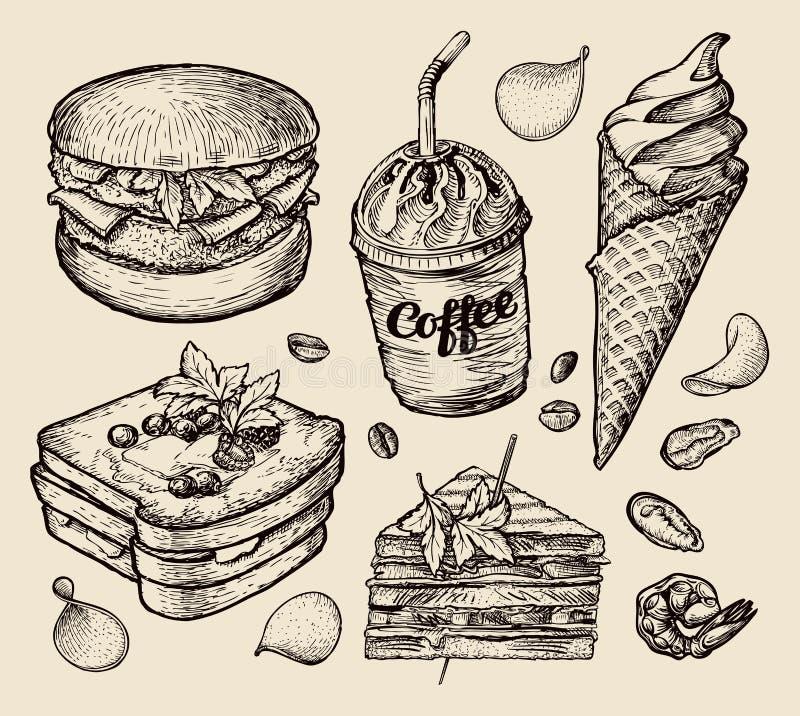 Fast food wręcza patroszonego hamburger, hamburger, kawa, kawa espresso, lody, kanapka, deser, grzanka, cheeseburger nakreślenie royalty ilustracja