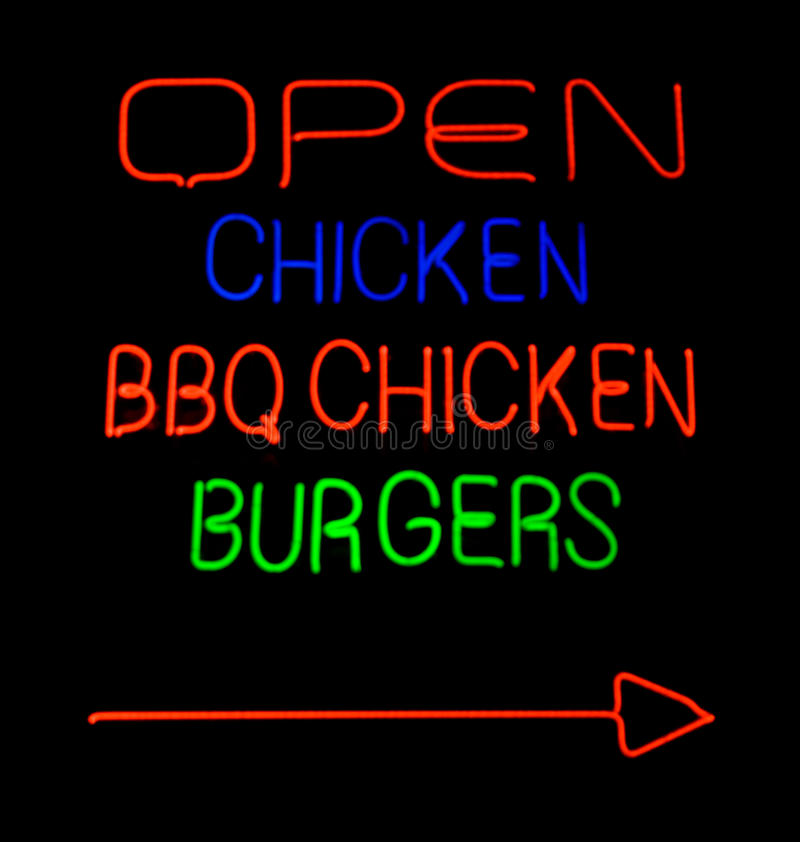 Download Fast foot neon sign stock image. Image of burgers, letters - 14775123