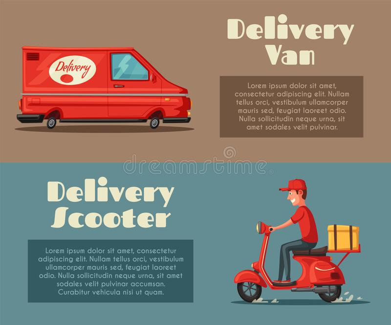 Fast and free delivery. Vector cartoon illustration. Food service. Scooter and van. royalty free illustration
