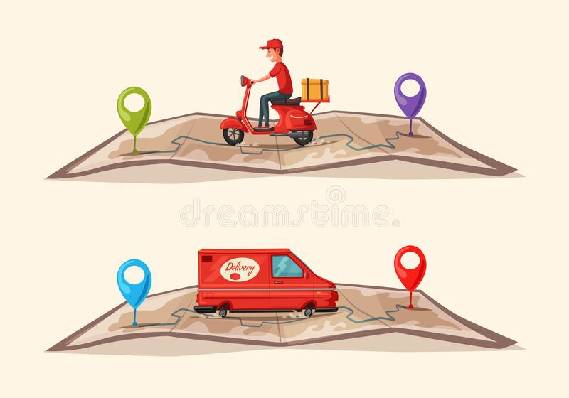 Fast and free delivery. Vector cartoon illustration. Food service. Scooter and van. Fast and free delivery. Vector cartoon illustration. Vintage style. Food royalty free illustration