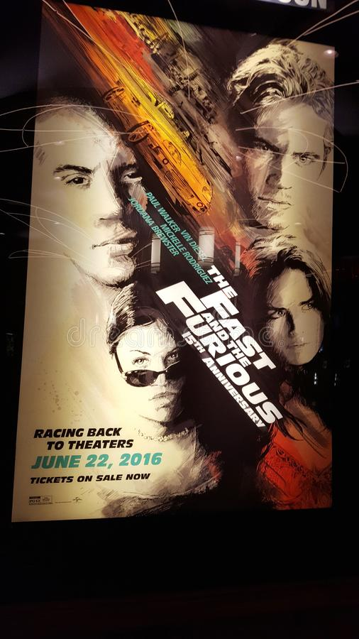 The Fast and the Furious 15th Anniversary Movie Poster. Honolulu - June 6, 2016: The Fast and the Furious 15th Anniversary Movie Poster at Regal Movie Theater in stock photo
