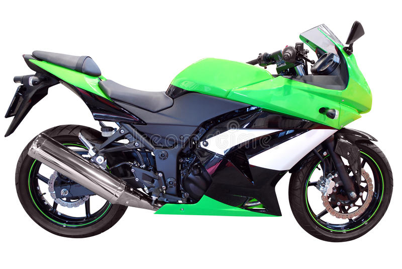 Fast green motorcycle stock images